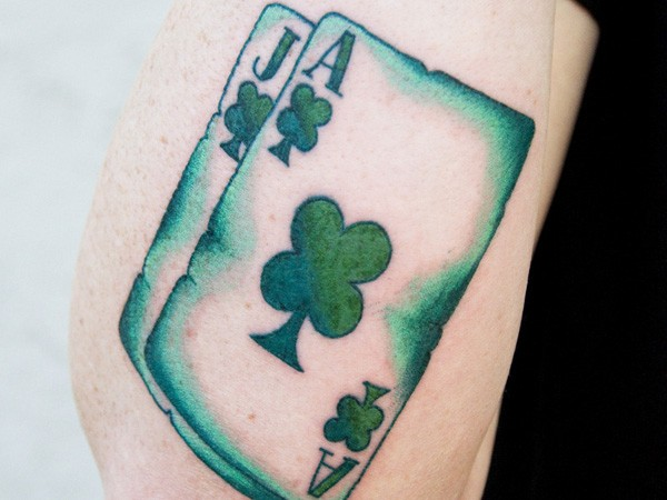 awesome happy irish playing card tattoo tattooimagesbiz