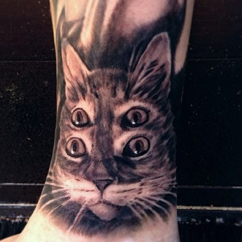 Awesome holographic cat tattoo by Mike Riina
