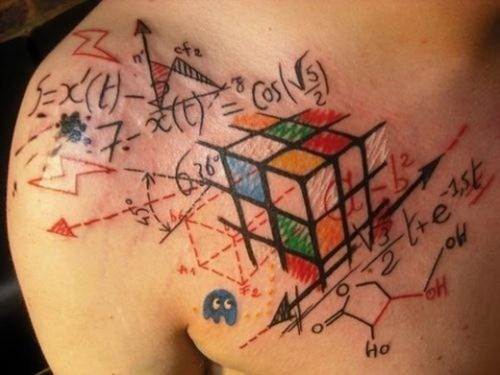 Awesome idea of geek tattoo on chest for men