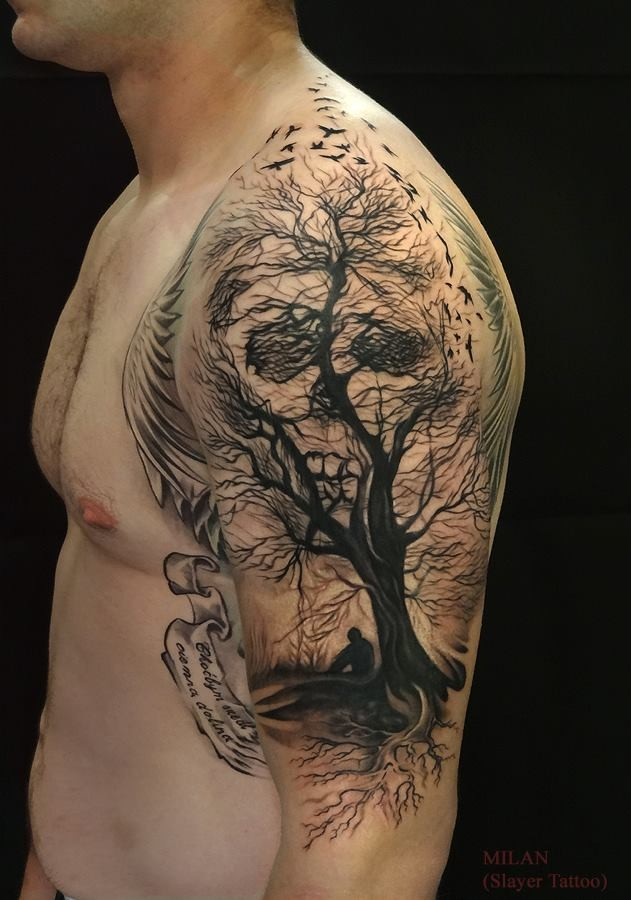 Awesome illusion tree skull tattoo on shoulder by Milan