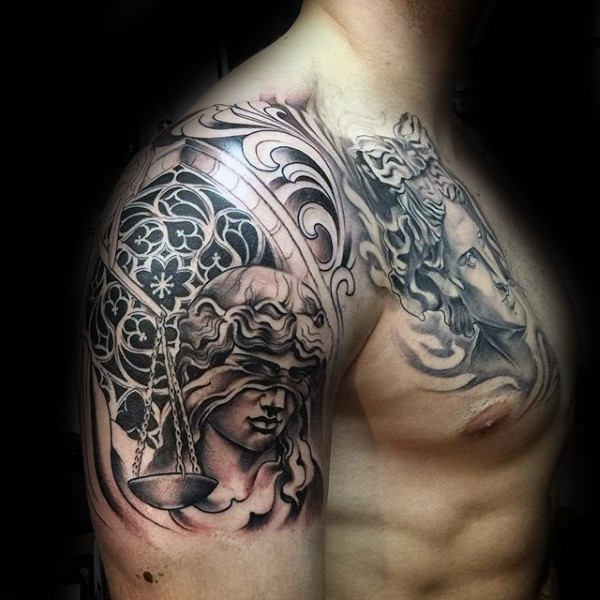 Awesome illustrative style black ink shoulder tattoo of Justice statue with libras