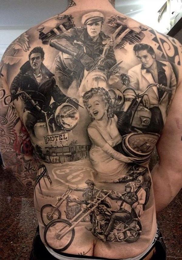 eccezionale leggenda di cinema americano tatuaggio pieno di schiena