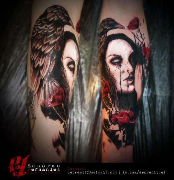 Awesome looking colored forearm tattoo of woman portrait and crow