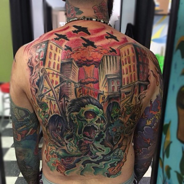 Awesome looking comic books style whole back tattoo of zombie apocalypse