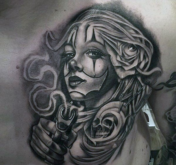 Awesome Mexican style painted gangster woman tattoo on chest