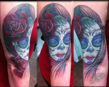Awesome Mexican traditional woman portrait colorful tattoo on half sleeve area