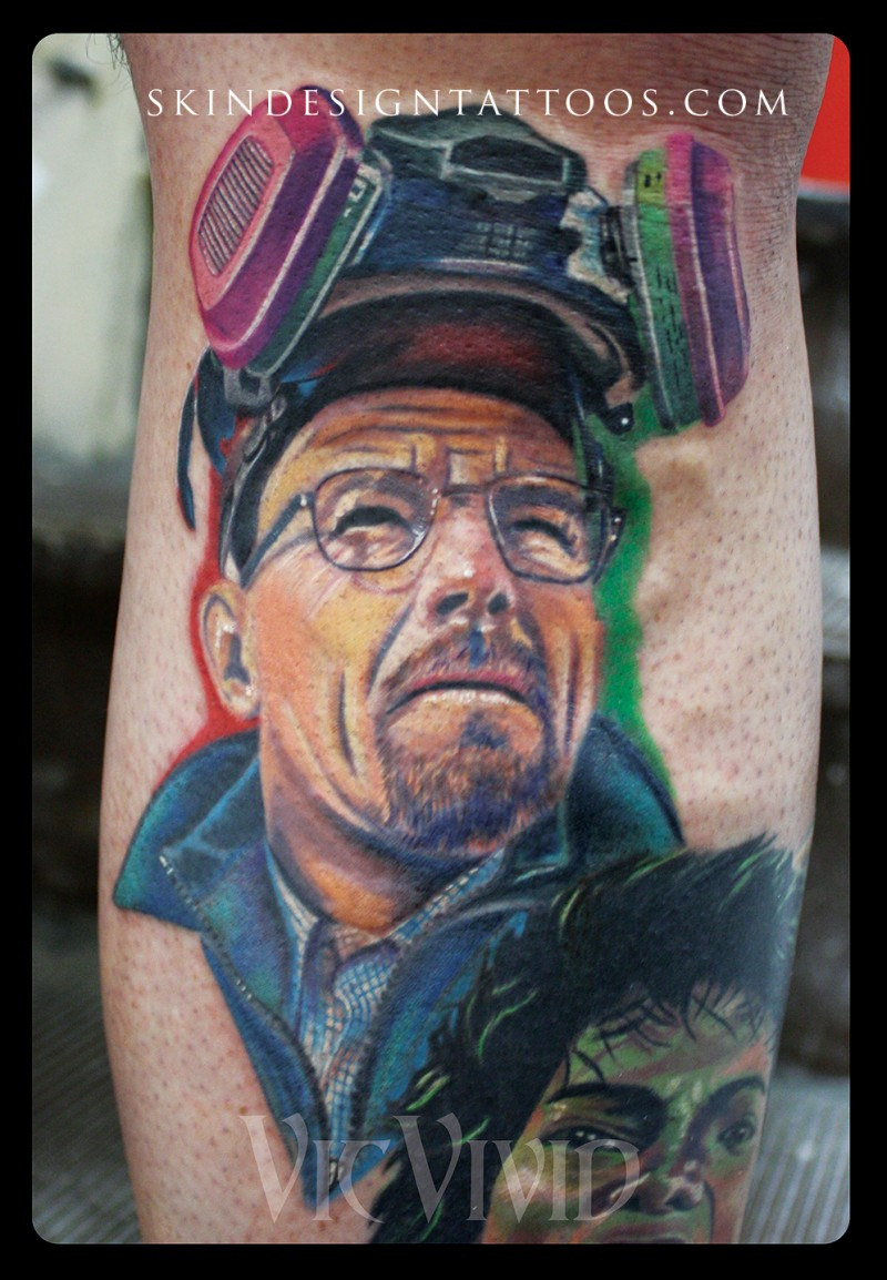 Awesome multicolored Breaking Bad main hero portrait tattoo on leg