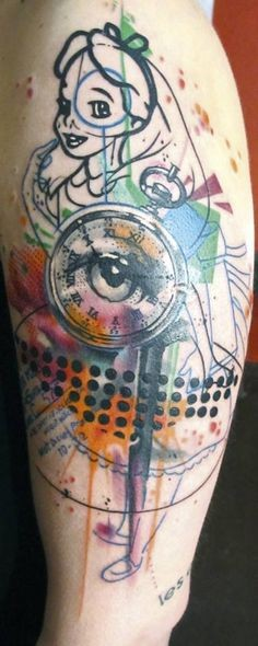 Awesome multicolored old mystical clock tattoo on shoulder