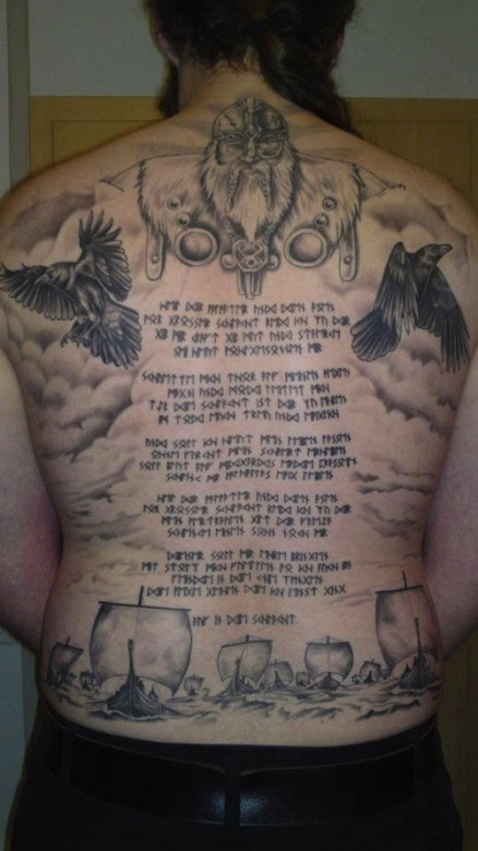 Awesome odin and runic text tattoo on whole back