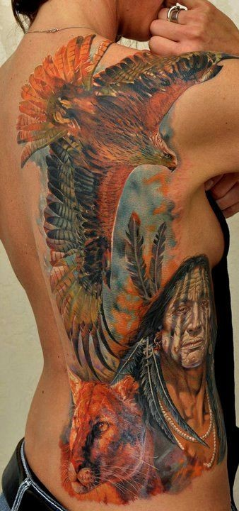 Awesome old native american with eagle and cougar tattoo on ribs