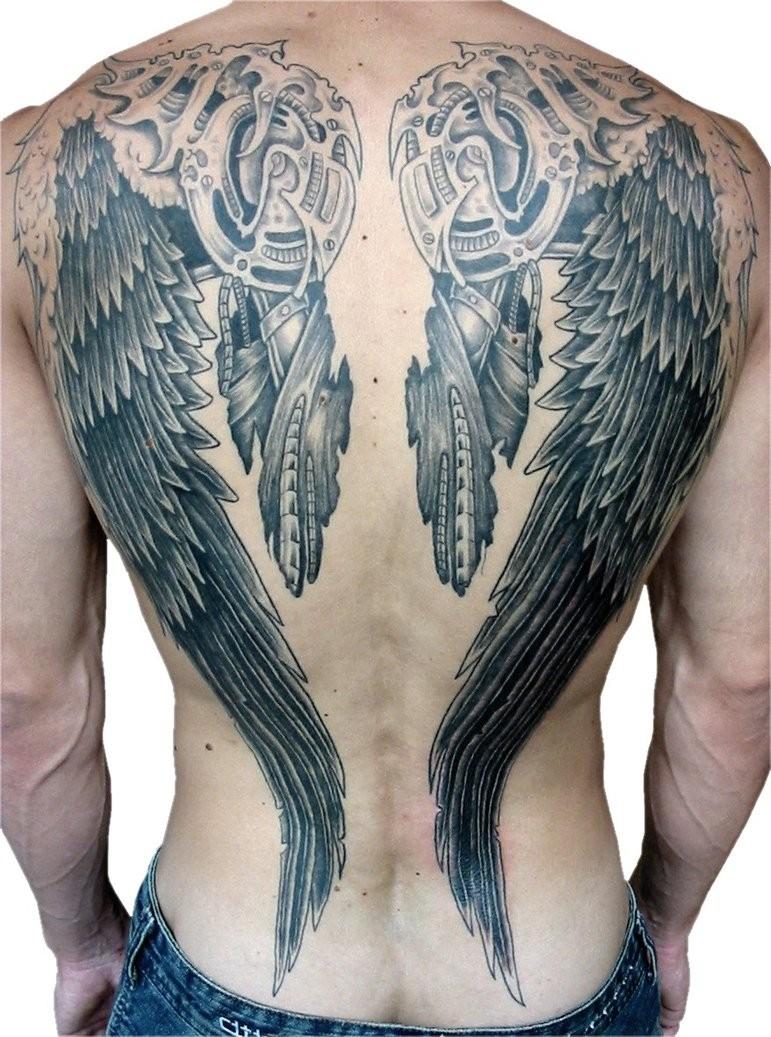 eccezionale dipinto grande inchiostro nero ali biomeccanici tatuaggio pieno di schiena