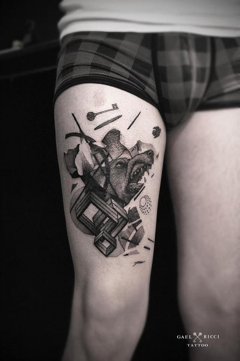 eccezionale dipinto fresco nero e bianco geometrico tatuaggio con orso su coscia