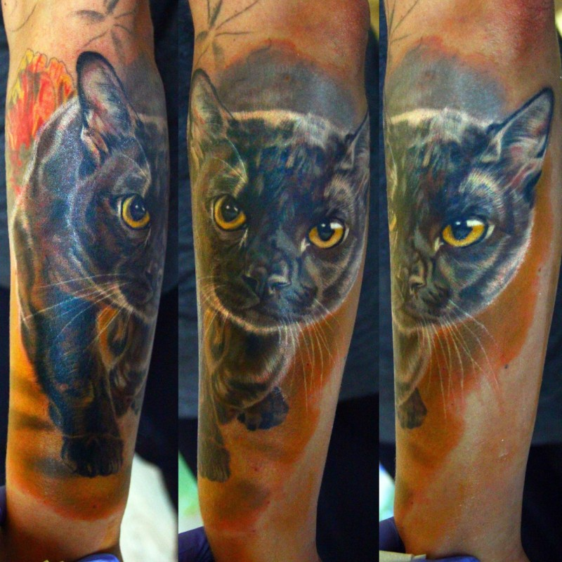 Awesome painted creepy looking realism style colored tattoo of cat