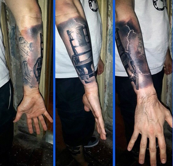 Awesome painted detailed black and white electric chair tattoo on arm