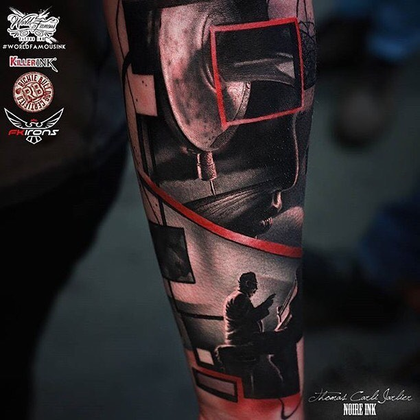Awesome painted forearm tattoo of various musicians with instruments