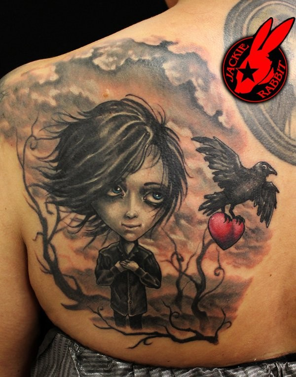 Awesome painted half colored mystical woman tattoo on back combined with crow and red heart