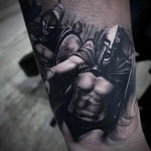 Awesome painted Spartan army tattoo