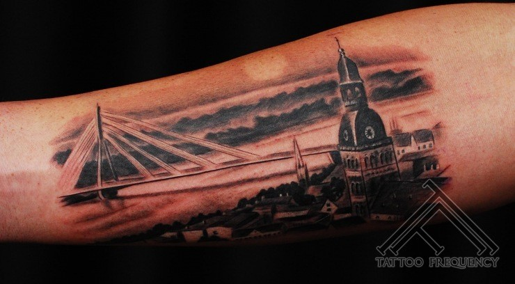 Awesome painted stunning night city with big bridge tattoo on arm