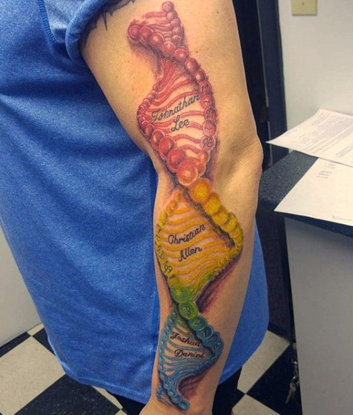 Awesome painted very realistic colorful DNA tattoo on sleeve