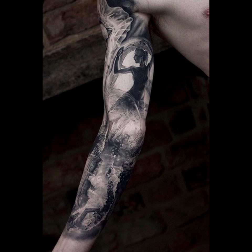 Awesome photorealistic black and white full sleeve tattoo