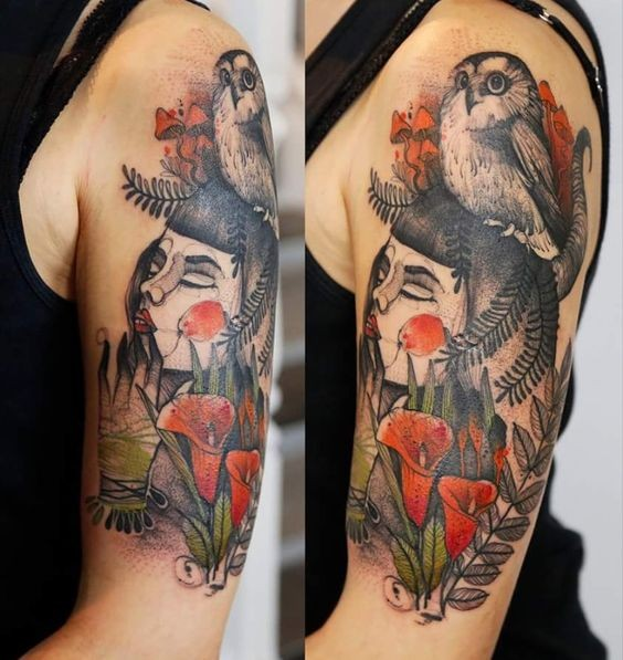 Awesome psychedelic upper arm tattoo of geisha with owl