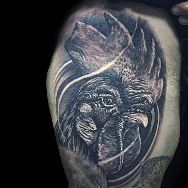 eccezionale realistico foto nero e bianco testa di gallo tatuaggio su braccio