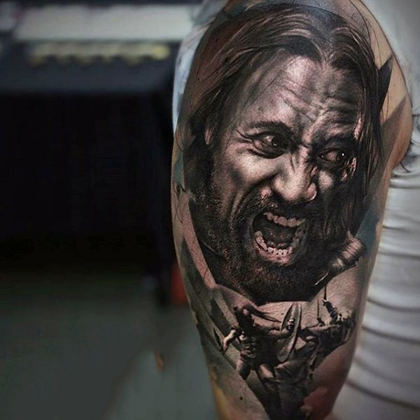 Awesome real spartan warrior tattoo on half sleeve area