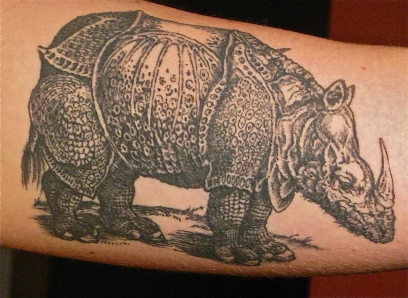 eccezionale rinoceronte realistico tatuaggio su braccio