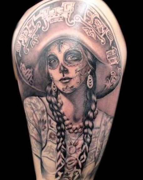 Awesome santa muerte girl tattoo in mexican style