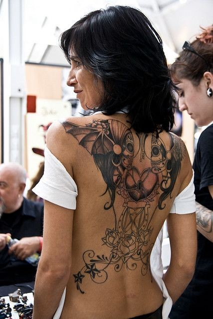 Awesome santa muerte tattoo on back