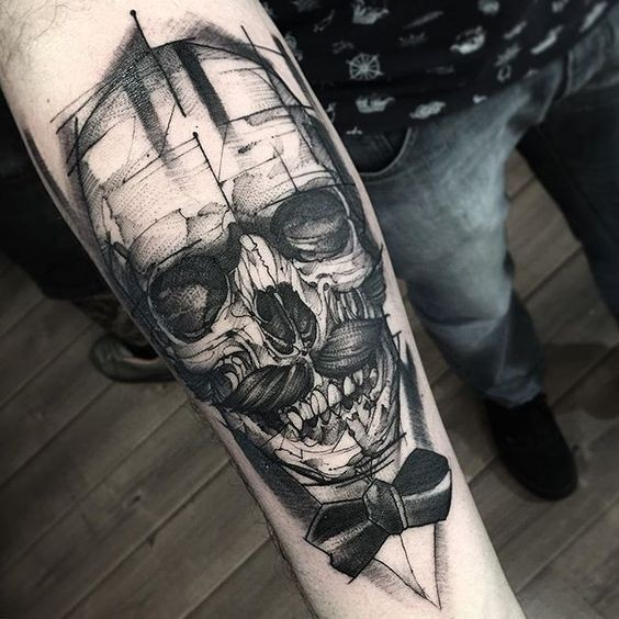 Awesome sketch like black ink forearm tattoo of skull with mustache and suit