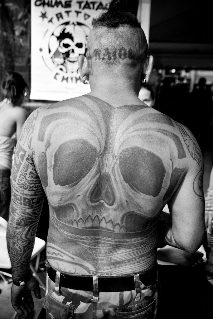 Awesome skull tattoo on whole back
