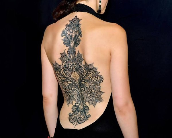 Awesome style painted massive black and white floral tattoo on whole back