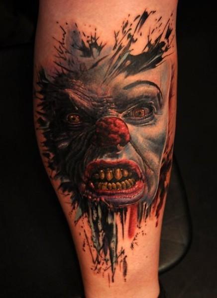 eccezionale terribile pagliaccio mostro tatuaggio