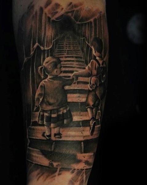 Awesome themed black and white kind on creepy bridge tattoo on sleeve