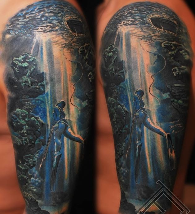 Awesome underwater scenery tattoo on arm