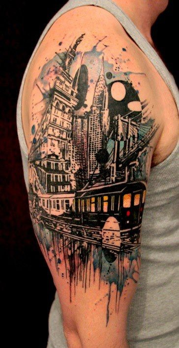 Awesome urban landscape tattoo on arm