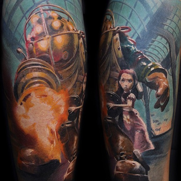Awesome very detailed colorful sleeve tattoo of famous cartoon heroes