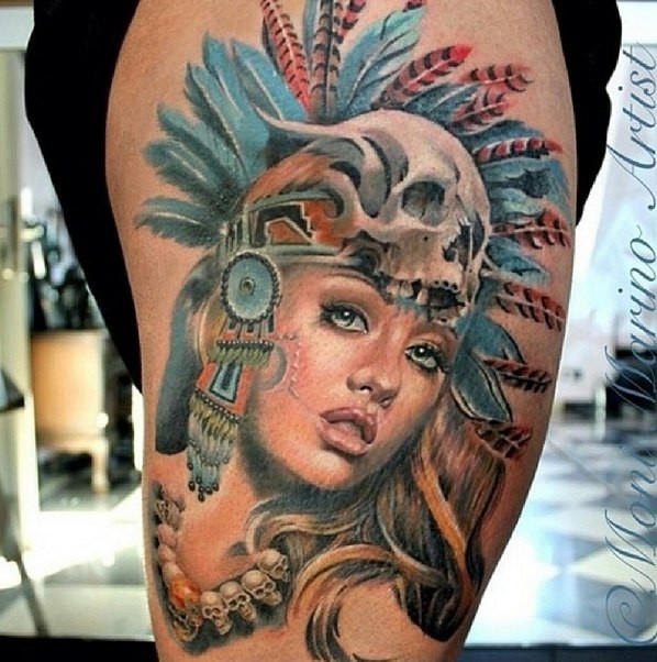 Awesome very detailed colorful thigh tattoo of tribal woman portrait