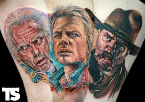 Awesome very detailed various old movies heroes portraits tattoo