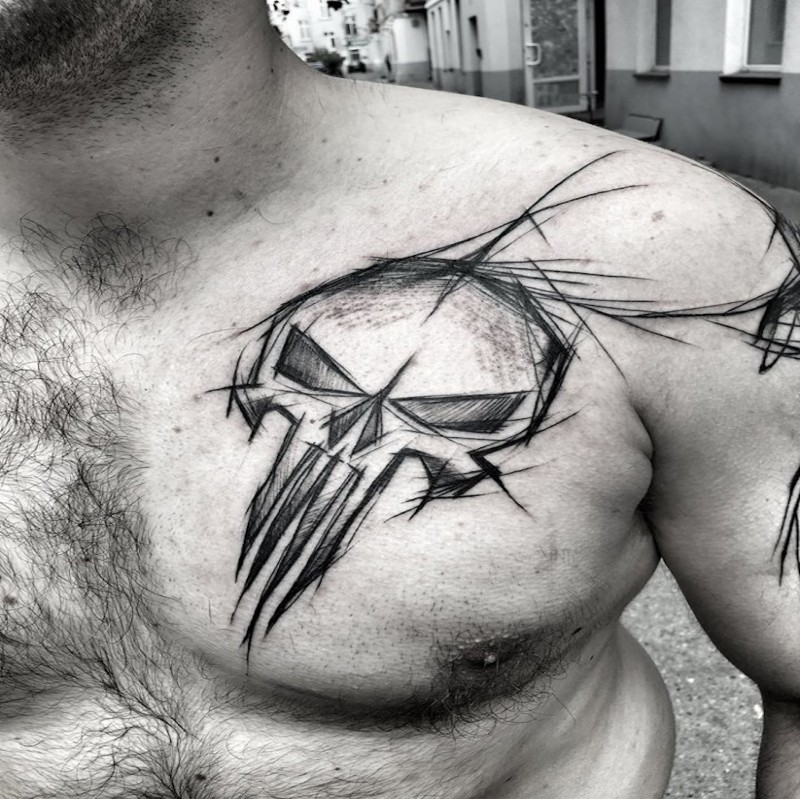 Awesome video game themed tattoo sketch painted by Inez Janiak on chest