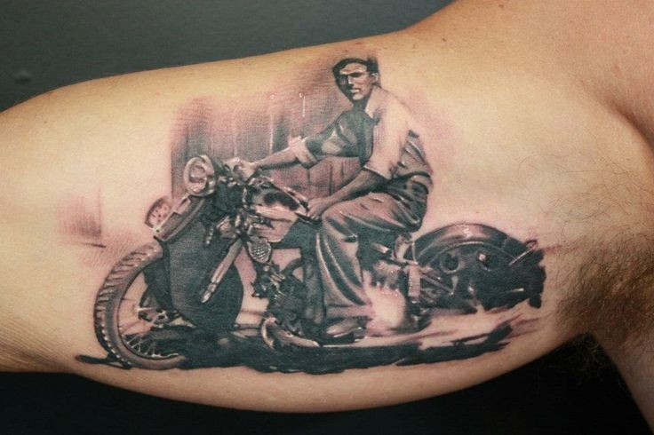 Awesome vintage biker tattoo on arm