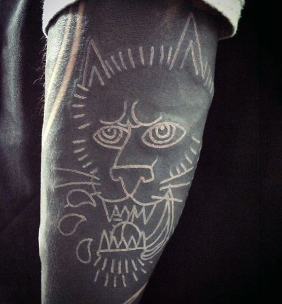 Awesome wall painting like black ink angry lion tattoo on arm