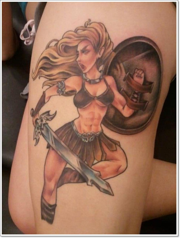 Awesome warrior pin up girl tattoo