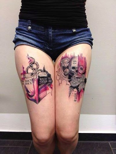 Awesome watercolor collage anchor with skull tattoo on thigh