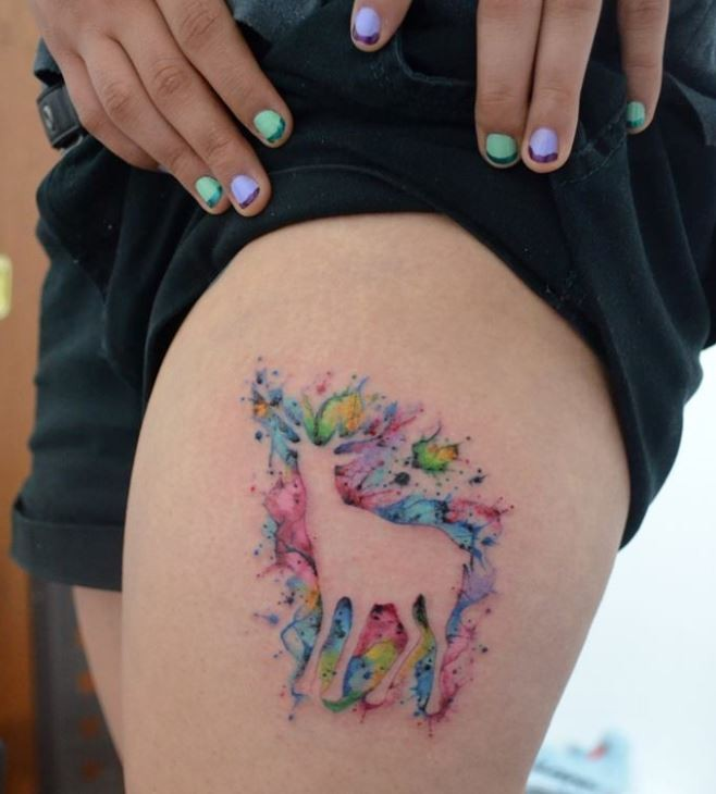 Awesome watercolor deer tattoo on thigh