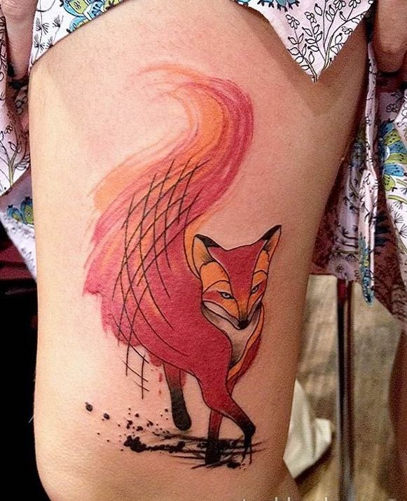 Awesome watercolor red fox tattoo on thigh