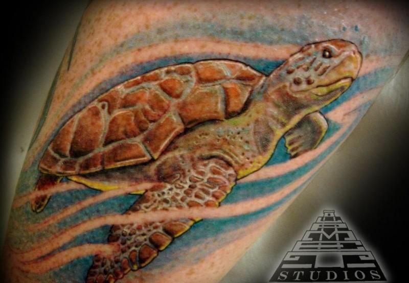 Awesome watercolor sea turtle tattoo