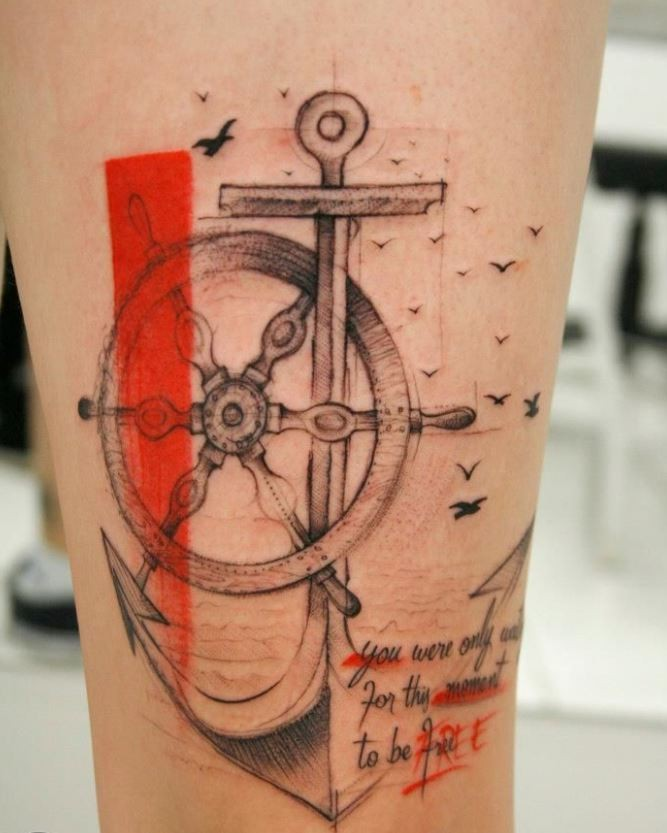 Awesome wheel with anchor tattoo on thigh