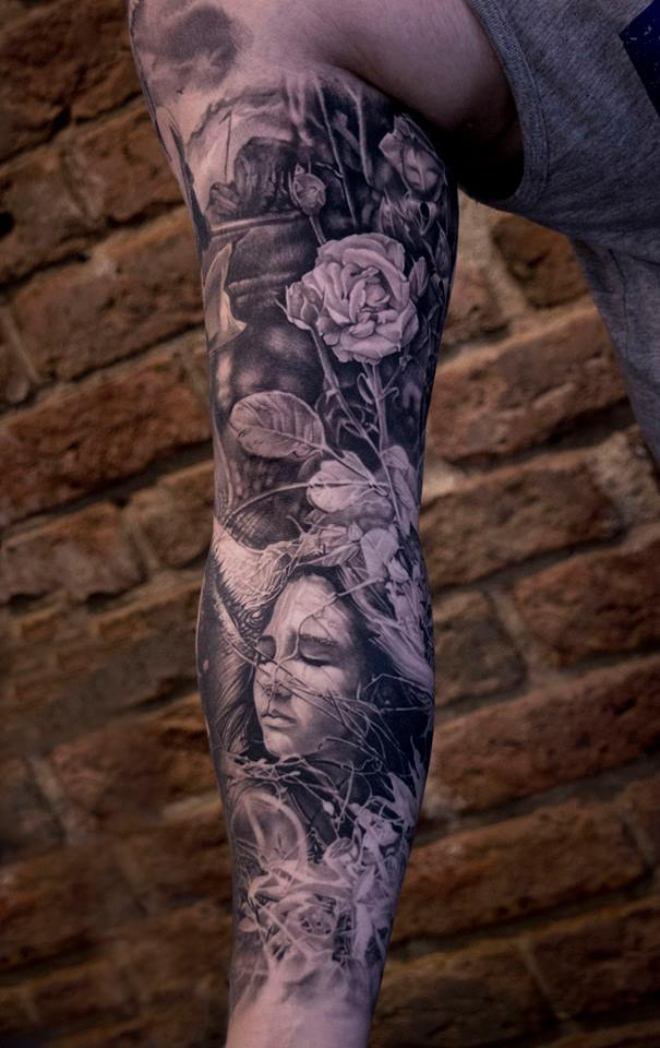 Awesome woman and reses full sleeve tattoo
